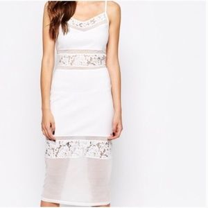 French Connection white lace mixed materials dress